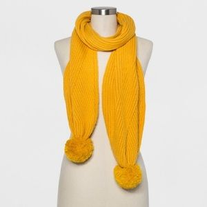 A New Day Mustard Knit Scarf with Poms
